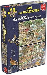 Jumbo 19001 Jan van Haasteren - 风暴和野生动物园主题拼图,2 x 1000块