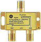 GE 数字双向同轴电缆分路器,2.5 GHz 5-2500 MHz,兼容 RG6,适用于高清电视、卫星、高速互联网、放大…