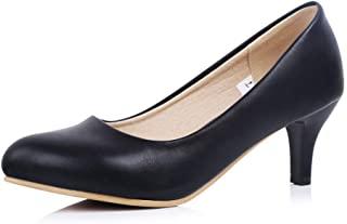 sorliva 女式经典一脚蹬高跟鞋闭合尖头低跟鞋连衣裙