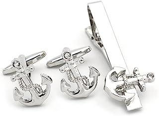 HELLOLULU 男式袖扣和领带夹套装 银色 白色 帆船 游艇 Rudder 领带夹和袖扣套装 适合正式商务 婚礼 父亲节使用