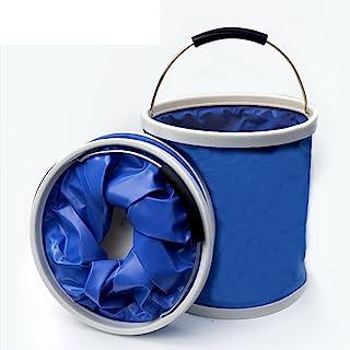 Hdsmely 可折叠桶,耐用弹出式桶,13 升便携式多功能折叠桶,可折叠野营渔夫桶,带手柄的防水布、洗车、远足、园艺。