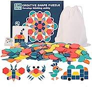 Ahyuan 180 件木制图案块几何形状拼图*玩具适合儿童*佳 STEM 教育蒙特梭利探格玩具,带 24 张指南卡