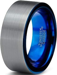 拱形钨金结婚戒指戒指8mm 男式女式舒适贴合蓝色管 cut 拉绒