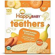 Happy Baby 温和磨牙薄脆饼 香蕉甘薯,12个盒装(6盒装)易于溶解磨牙米饼,不含麸质(包装可能会有不同)