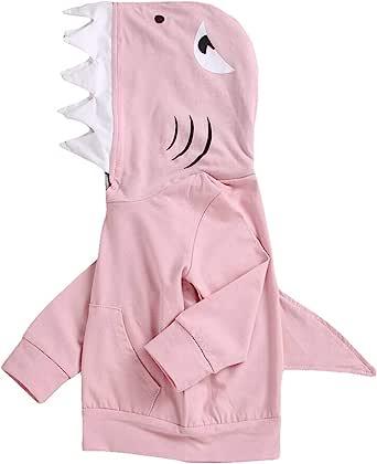 中性婴儿秋冬鲨鱼连帽运动衫男孩女孩连帽衫袋鼠式口袋和鲨鱼鳍状帽衫