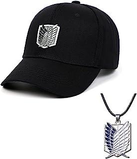动漫棉刺绣太阳帽可调节棒球帽男式与调查团吊坠项链黑色