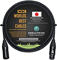 6 英尺 - 平衡麦克风电缆由 WORLDS BEST CABLES 定制 - 使用 Mogami 2549(黑色)电线和 Neutrik NC3MXX-B 和 NC3FXX-B 金色 XLR 插头