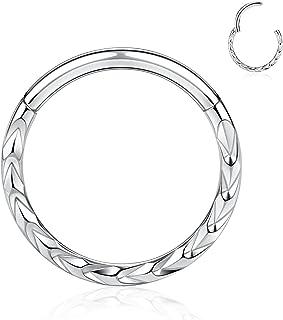 FUNLMO 16G 不锈钢 Septum Clicker 蛇形铰链段环金字塔设计 Daith Rook 耳洞饰品