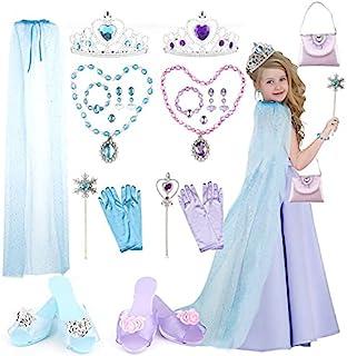 公主装扮鞋和珠宝精品店 - Chibon 18 件公主玩具带钱包,蓝色王子斗篷,皇冠,魔杖,公主礼物送给 3,4,5 岁的小女孩作为生日圣诞节礼物