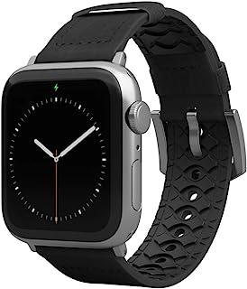 Groove Life - Vulcan 手表表带兼容 Apple Watch 38 毫米 40 毫米 42 毫米 44 毫米,透气皮革和硅胶表带系列 5 4 3 2 1 - 黑曜石宽长银色