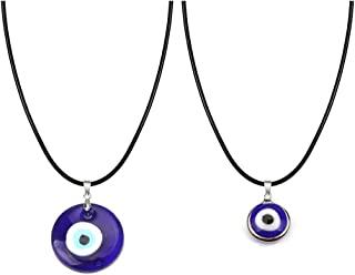 WLLAY 2 件邪恶之眼项链套装,玻璃皮革绳土耳其蓝色邪恶之眼项链女士男士幸运保护项链情侣礼物