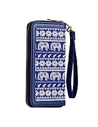 女式錢包大號帆布手拿包錢包長款錢包手機包帶腰包,可用于手機、現金、硬幣