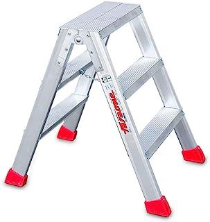 Faraone – 高凳子 由铝制成 TPAS03-3+3 级 – 76 x 50 x 25 厘米 – 专业使用 – 双层凳子 – *大负荷 150 千克 – 符合欧洲标准 EN 131