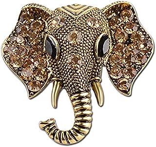 JUMOO 复古大象水晶水钻青铜复古银色胸针 适合女士女孩男士时尚珠宝