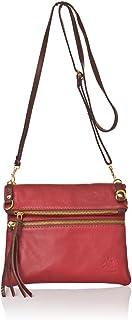正宗意大利皮革小号斜挎包,小牛皮,钱包和手提包,外部拉链和内部拉链口袋。