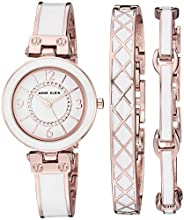 Anne Klein 女士 AK/3296BKST 施華洛世奇水晶 金色和黑色手鐲手表和手鐲套裝