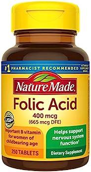Nature Made 天维美 叶酸片剂,400 mcg(665 mcg DFE),250粒(包装可能有所不同)