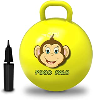 Flybar My First Pogo Pals 儿童摇铃球 - 带手柄的弹性球,儿童平衡球,适合 3 岁及以上儿童使用,包括气泵 大 Monkey Yellow
