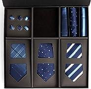 男式丝绸领带套装带口袋正方形和袖扣 - 蓝色领带、手帕和袖扣礼品盒,男式3 件正装衬衫配件适用于正式或商务服装