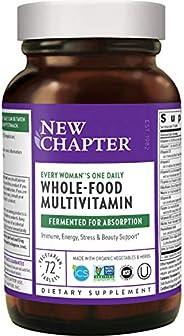New Chapter 女士多种维生素 每日一粒 用全食品和益生菌+铁+维生素B 等成分发酵-72粒(包装可能有所不同)