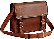 13 英寸真皮信使包,笔记本电脑包,办公室公文包,男士电脑仿旧单肩包