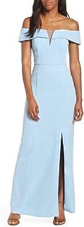 Vince Camuto 女式露肩绉纱礼服,尺码 6 - 蓝色