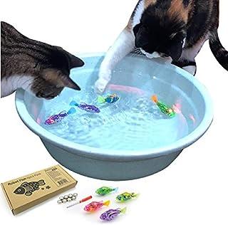 室内猫互动游泳鱼玩具 - 室内猫的*佳水猫玩具,适合钓鱼,锻炼良好,喝更多水,LED 灯,含电池(不含游泳碗)(4 件)