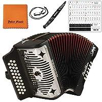 Hohner Panther G/C/F 3 排全音階手風琴 3100GB - 黑色捆綁迷你口琴、朱麗葉音樂拋光布和鋼琴鑰匙貼紙