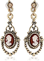 1928 Jewelry Brass Faux Cameo Earrings