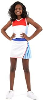 街头网球俱乐部女孩 Tennnis & 高尔夫背心和裙子和内置短裤,拼色图案 S - XL 码