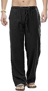 kaimimei 男式宽松抽绳裤时尚休闲沙滩亚麻长裤轻质健身瑜伽裤