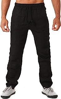 kainimei 男式时尚亚麻裤夏季休闲抽绳沙滩裤宽松轻质瑜伽裤