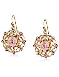 1928 珠宝金色调粉色陶瓷带淡玫瑰特色耳坠