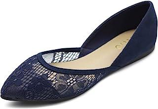 Ollio 女式鞋子 仿麂皮 花卉网眼 蕾丝 透气性 尖头芭蕾平底鞋 F90