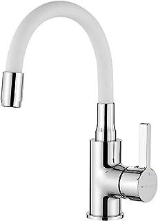 Ibergrif M11399-3 单杆浴室水龙头,带柔性出水口,镀铬,白色