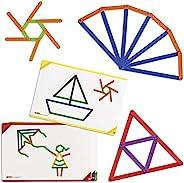 Edxeducation 21365 Junior GeoStix 家庭学习玩具,用于早期数学和创造力-200支彩色搭建架-30张双面活动卡-几何操纵
