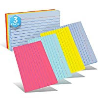 Emraw 横格内衬彩色索引卡片,重型耐用 3 X 5 英寸(7.6 X 12.7 厘米)纯色背面各种颜色便签卡,适用于学校家庭和办公室 - 300 张卡片(3 包 100 张)