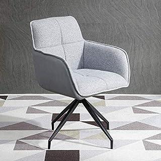 Nordic Home 学习办公椅学生久坐舒适扶手椅靠背桌座锚旋转客厅椅(灰色)