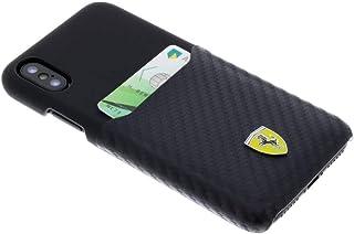Ferrari PU 皮套带碳纤维苹果 iPhone X - 黑色
