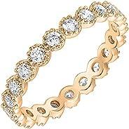 PAVOI 14K 镀金戒指方晶锆石戒指   榄尖形纹边永恒戒指   女式金戒指