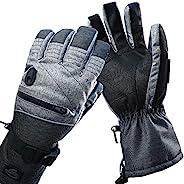 HighLoong 男士滑雪滑雪滑雪手套防水新雪丽适用于寒冷冬天 - 黑色