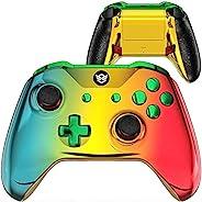 HexGaming 铬青金色红色电子竞技刀片定制控制器适用于 Xbox 系列 X/S,Xbox Elite 控制器,带 2 个桨和可互换的拇指棒和触发器停止 PC 无线Gampad