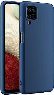 Cresee 兼容三星 Galaxy A12 手机壳,超薄硅胶保护套,带超细纤维内饰防刮超薄贴合灵活手机壳 - 蓝色