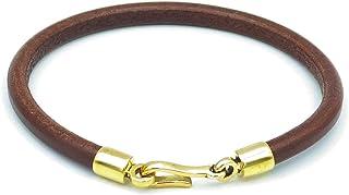 Caputo & Co. 男式经典风格皮革绳手链美国手工制作 - 棕褐色