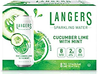 Langers Sparkling Water With Fruit Juice, Cucumber Lime With Mint, 12 Ounce (pack Of 8)