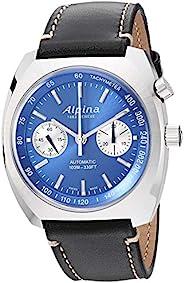 Alpina 男士 Startimer Pilot Heritage 不锈钢瑞士自动飞行员手表带皮革小牛皮表带,蓝色,22(型号:AL-727LNN4H6)