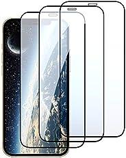 Muntonski 兼容 iPhone 12 pro max 屏幕保护膜钢化玻璃前膜,高清透明,9H 硬度,无气泡,12promax promax 膜全覆盖 6.75 英寸(约 17 厘米)3 件装