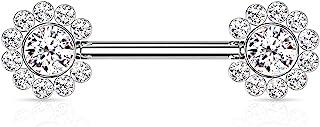Dynamique 316L *钢无螺纹推入式乳头杠铃,每侧有 11 CZ 花朵簇(每对出售或单件)