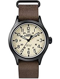 Timex TWC007000 Expedition Scout 男士通带皮革手表,Dark Brown/Black/Natural,40mm