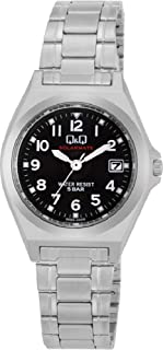CITIZEN Q&Q 手表 指针式 太阳能电波 防水 日期 金属表带 H061-205 女款 黑色